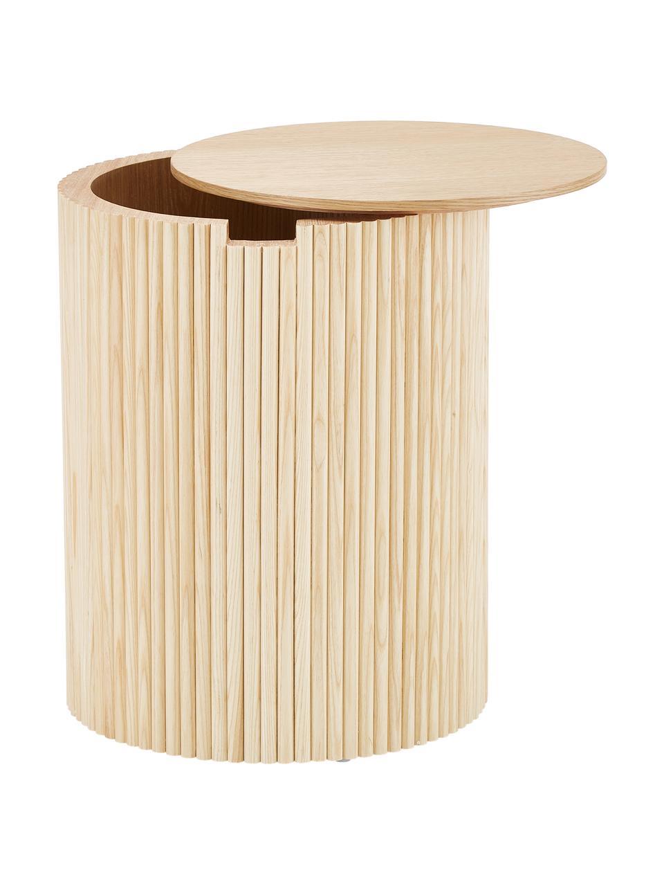 Drewniany stolik pomocniczy ze schowkiem Nele, Płyta pilśniowa (MDF) z fornirem z drewna jesionowego, Okleina jesionowa, Ø 40 x W 51 cm