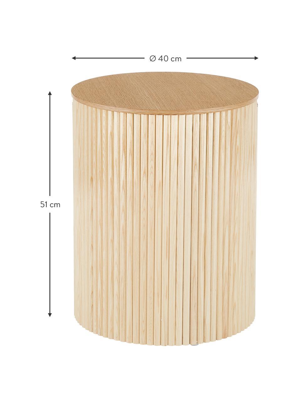 Holz-Beistelltisch Nele mit Stauraum, Mitteldichte Holzfaserplatte (MDF) mit Eschenholzfurnier, Hellbraun, Ø 40 x H 51 cm