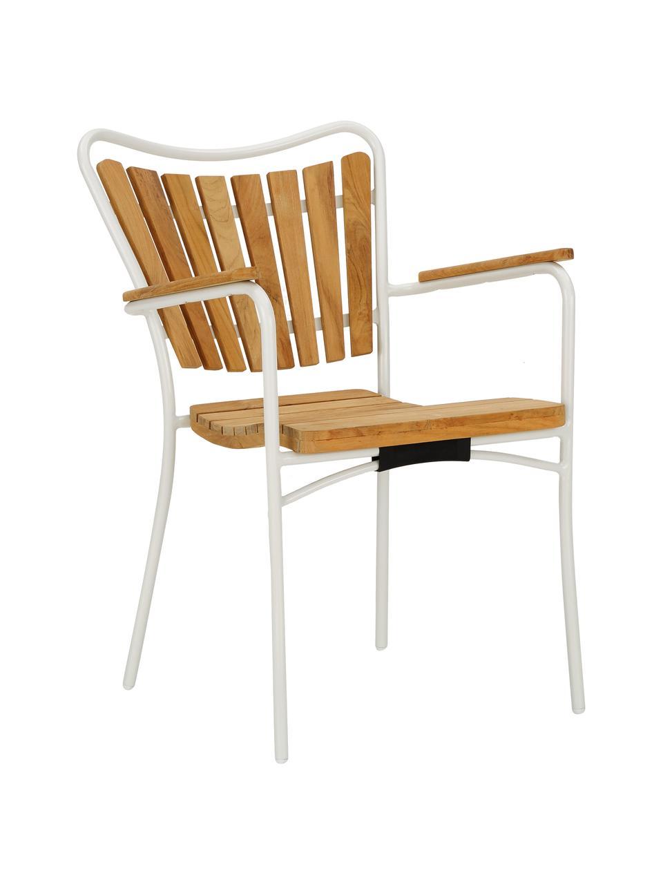 Sedia da giardino in legno con braccioli Hard & Ellen, Struttura: alluminio verniciato a po, Bianco, teak, Larg. 56 x Alt. 78 cm