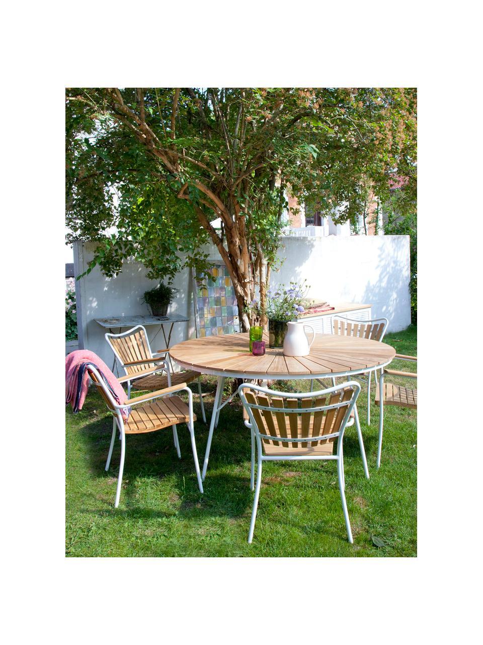 Zahradní židle Hard & Ellen, Bílá, teakové dřevo