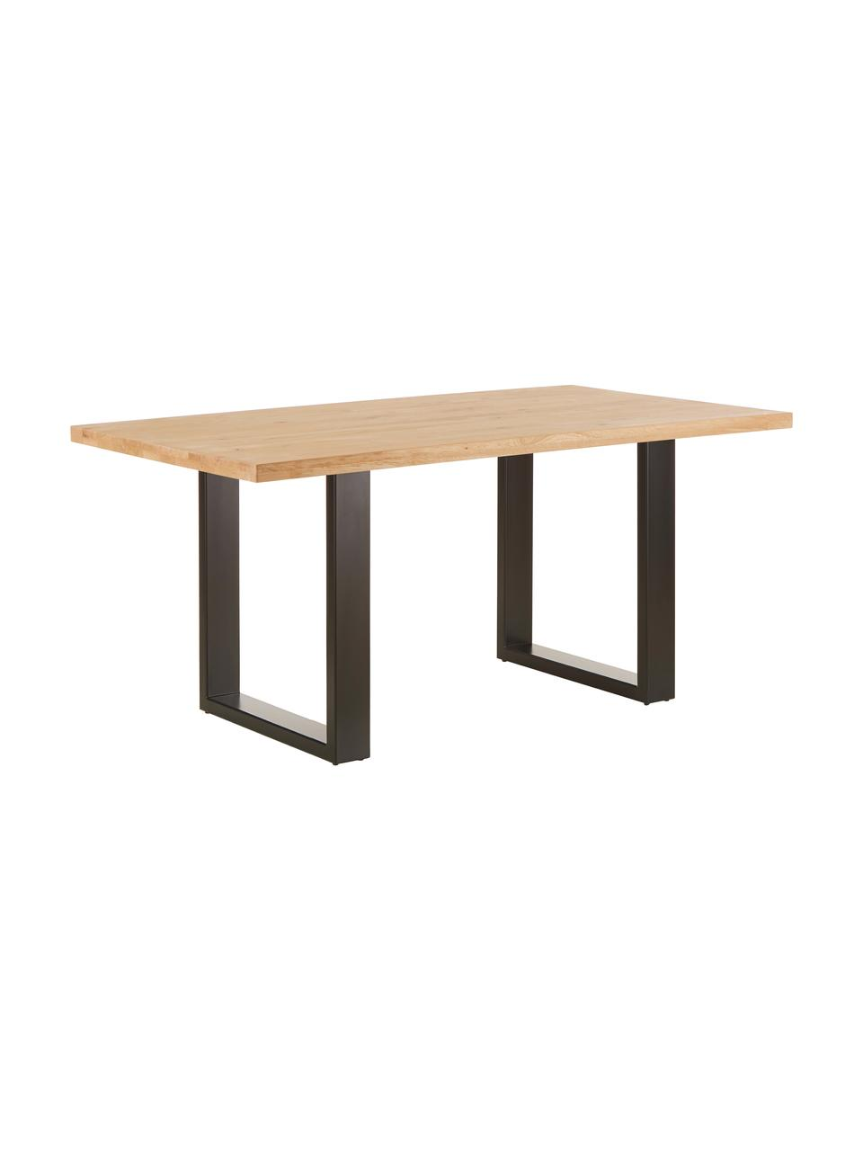 Stół do jadalni  z  blatem z litego drewna Oliver, Blat: dzikie lite drewno dębowe, Nogi: stal lakierowana matowo, drewno dębowe, S 160 x G 90 cm
