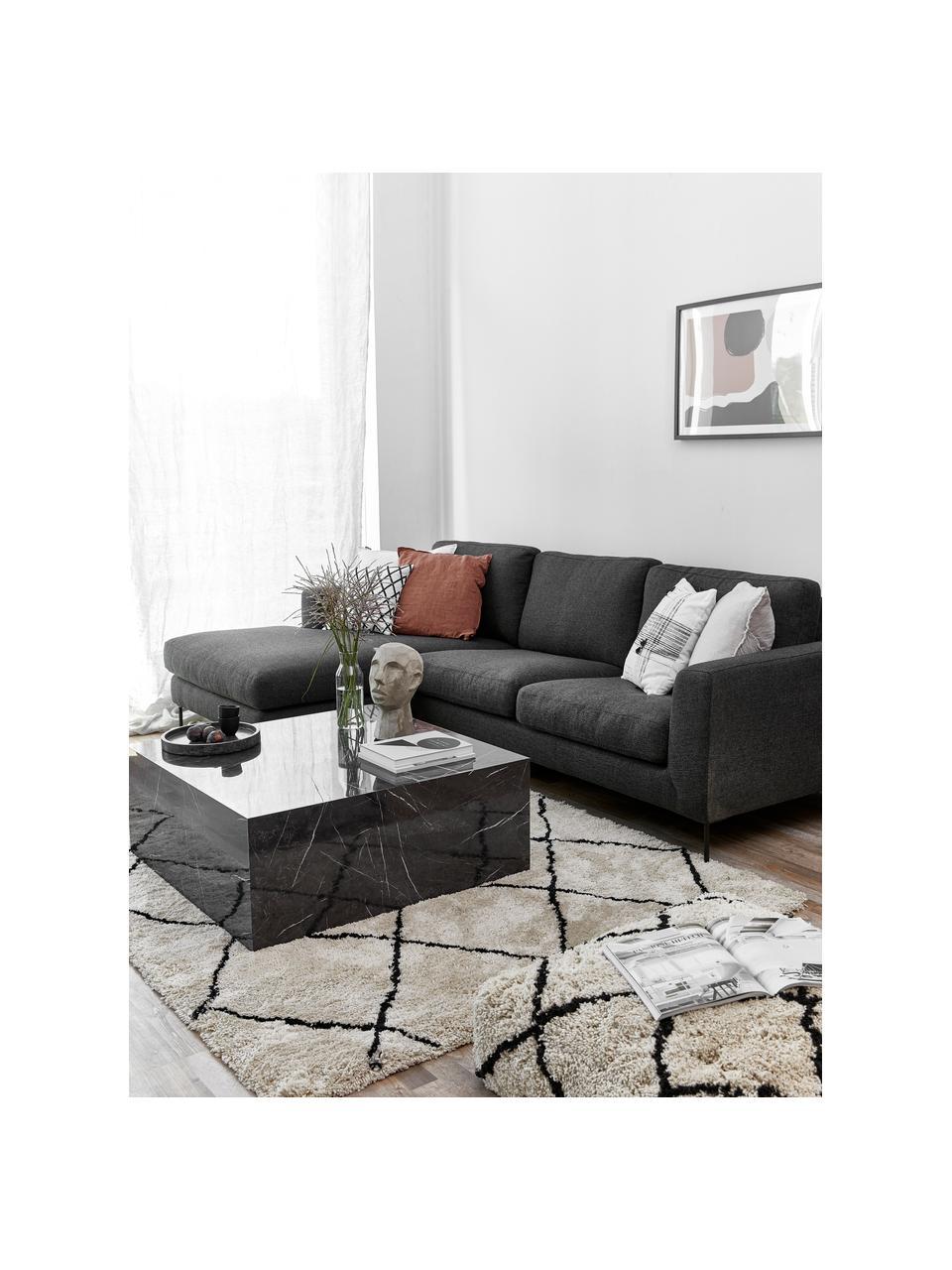 Ecksofa Cucita (3-Sitzer) in Anthrazit mit Metall-Füßen, Bezug: Webstoff (Polyester) Der , Gestell: Massives Kiefernholz, Füße: Metall, lackiert, Webstoff Anthrazit, B 262 x T 163 cm