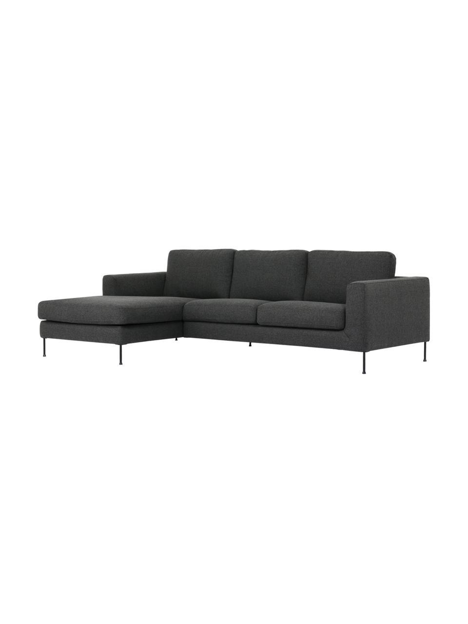 Sofa narożna z metalowymi nogami Cucita (3-osobowa), Tapicerka: tkanina (poliester) Dzięk, Nogi: metal lakierowany, Antracytowy, S 262 x G 163 cm