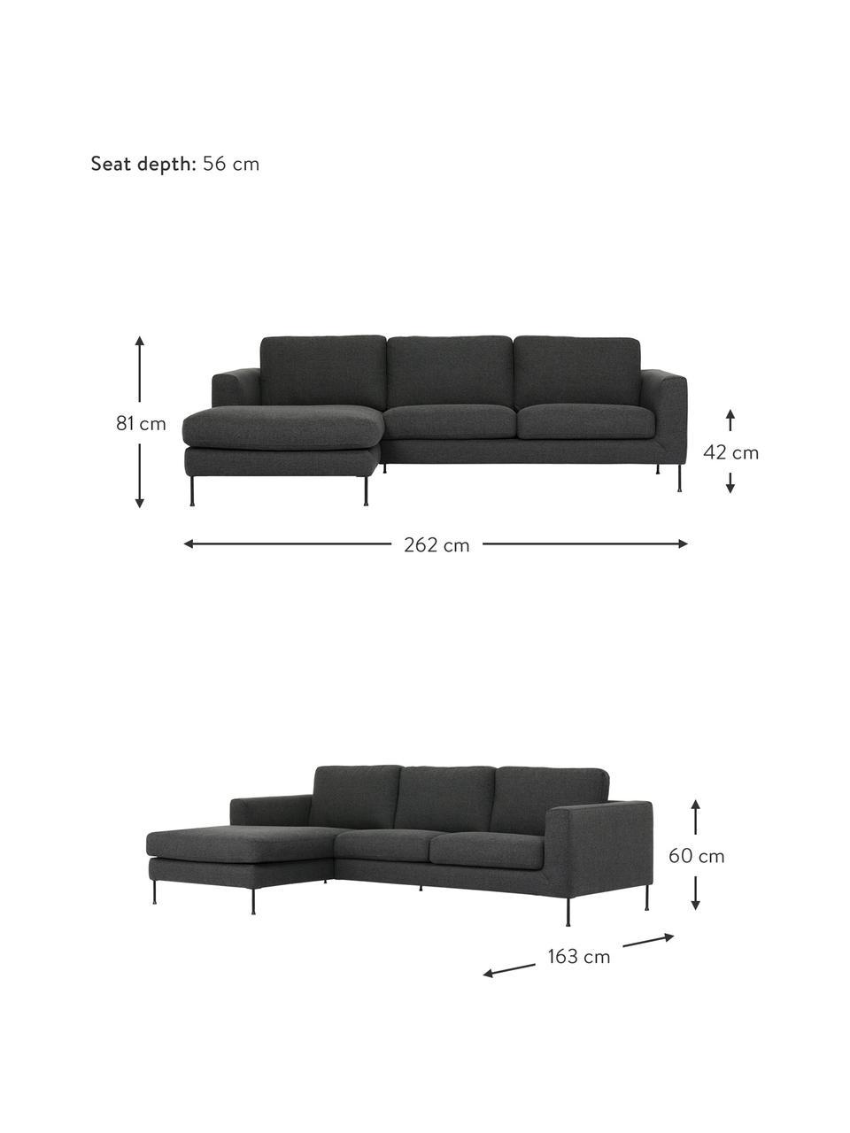 Canapé d'angle 3places anthracite Cucita, Tissu anthracite