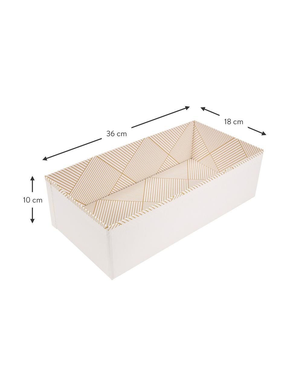 Aufbewahrungskiste Drawer, Fester, laminierter Karton, Goldfarben, Weiß, 36 x 10 cm