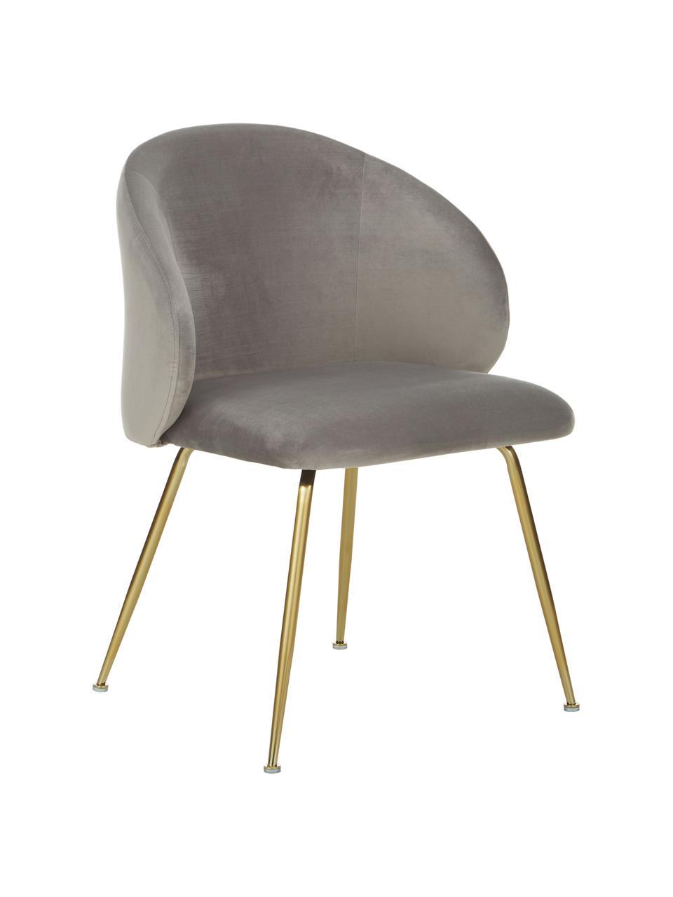 Krzesło tapicerowane z aksamitu Luisa, 2 szt., Tapicerka: aksamit (100% poliester) , Nogi: metal malowany proszkowo, Aksamitny jasny szary, złoty, S 59 x G 58 cm