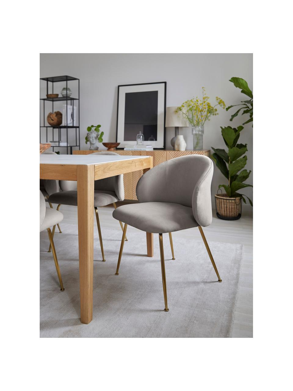 Fluwelen stoelen Luisa, 2 stuks, Bekleding: fluweel (100% polyester), Poten: gepoedercoat metaal, Fluweel lichtgrijs, goudkleurig, B 61 x D 58 cm