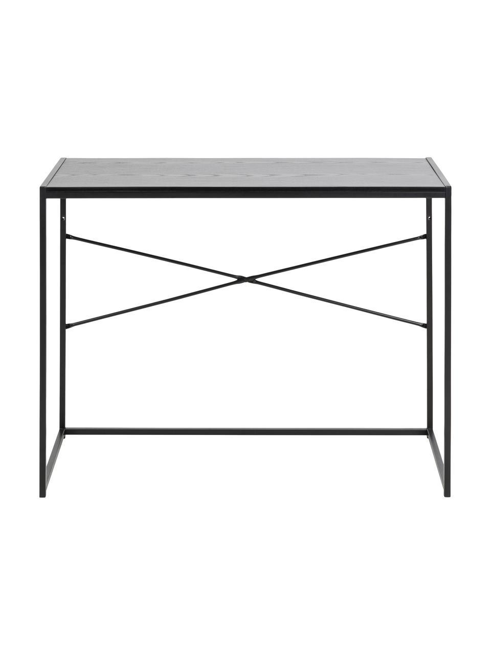 Wąskie biurko z drewna i metalu Seaford, Stelaż: metal malowany proszkowo, Blat: płyta pilśniowa średniej , Czarny, S 100 x G 45 cm