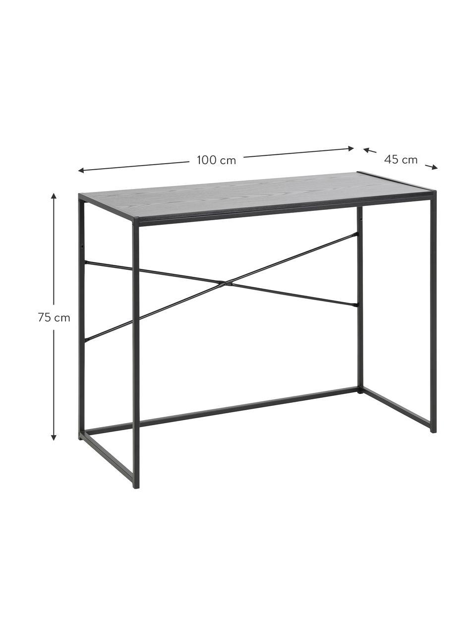 Smal bureau Seaford van hout en metaal, Frame: gepoedercoat metaal, Tafelblad: MDF, essenhoutfineer, mel, Zwart, B 100 x D 45 cm