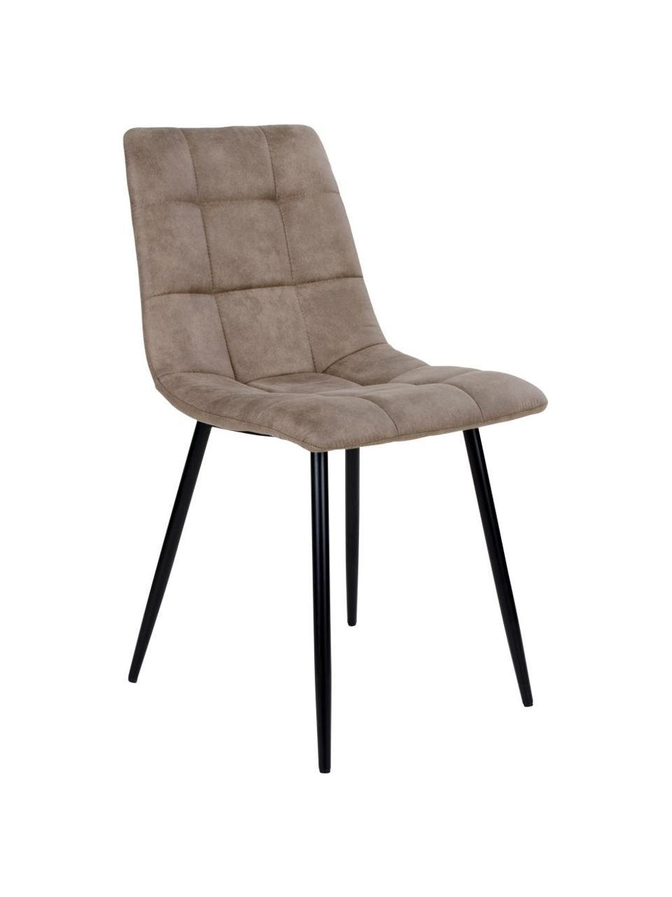 Sedia imbottita in microfibra Middleton, Rivestimento: microfibra, Gambe: metallo rivestito, Marrone chiaro, nero, Larg. 44 x Alt. 55 cm