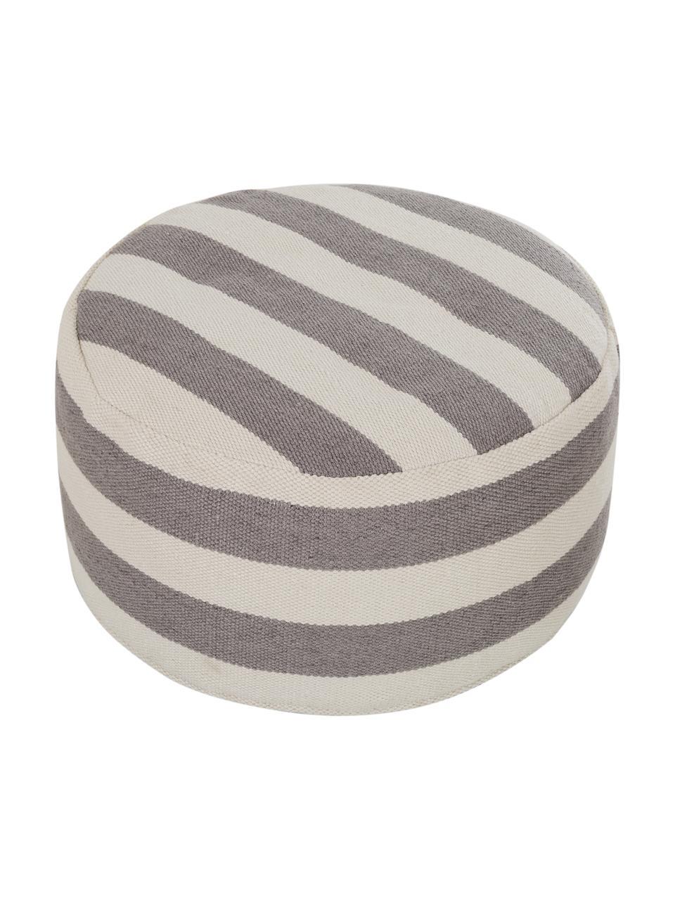 Okrągły puf wewnętrzny/zewnętrzny Lani, Tapicerka: 100% poliester pochodzący, Szary, beżowy, Ø 65 x W 30 cm