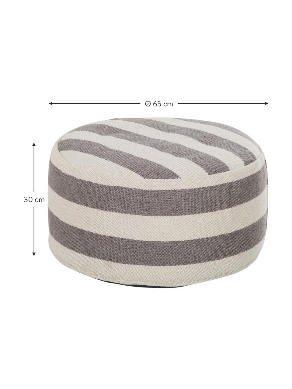 Runder In- und Outdoor-Pouf Lani, Bezug: Polyester, recycelt Füllu, Grau, Ecru, ∅ 65 x H 30 cm