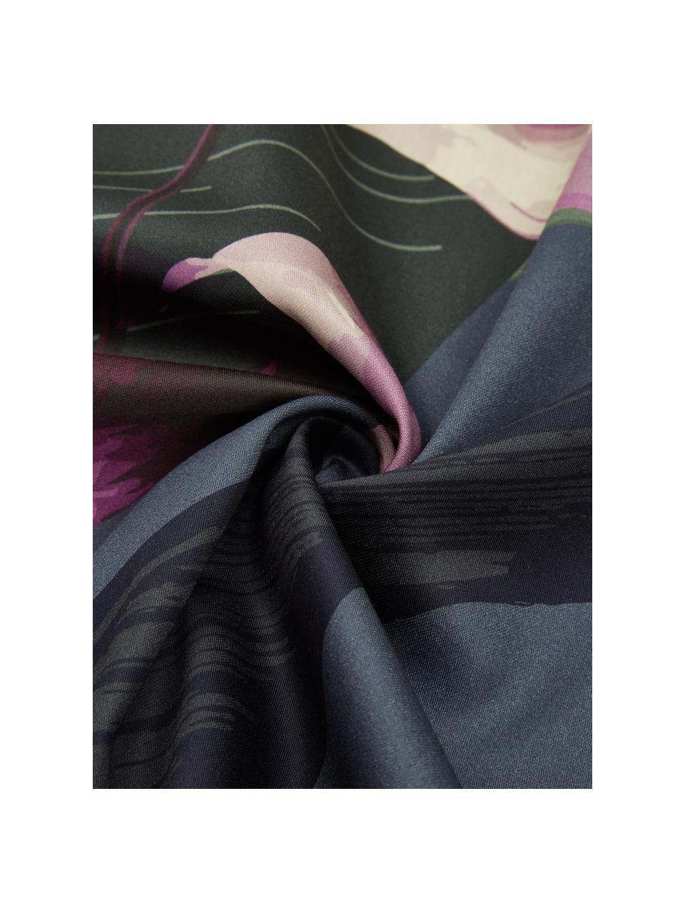 Pościel z satyny bawełnianej Flora, Przód: wielobarwny Tył: ciemny szary, 135 x 200 cm + 1 poduszka 80 x 80 cm