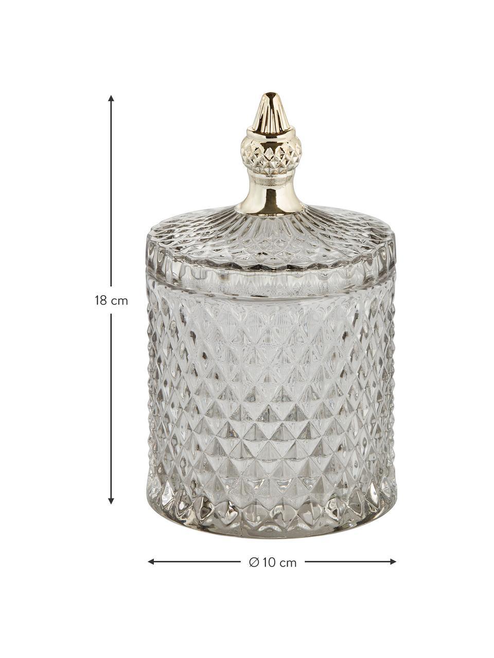 Contenitore con coperchio Miya, Vetro, Grigio trasparente, dorato, Ø 11 x Alt. 18 cm