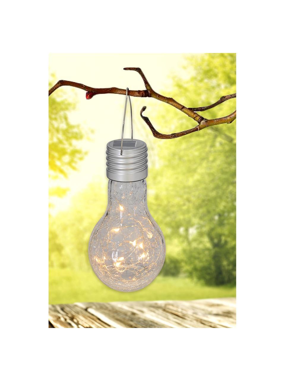 Solar hanglampen Martin, 3 stuks, Peertje: glas, Lampenkap: transparant met splintereffect Lamphouder: nikkelkleurig, Ø 10 x H 20 cm