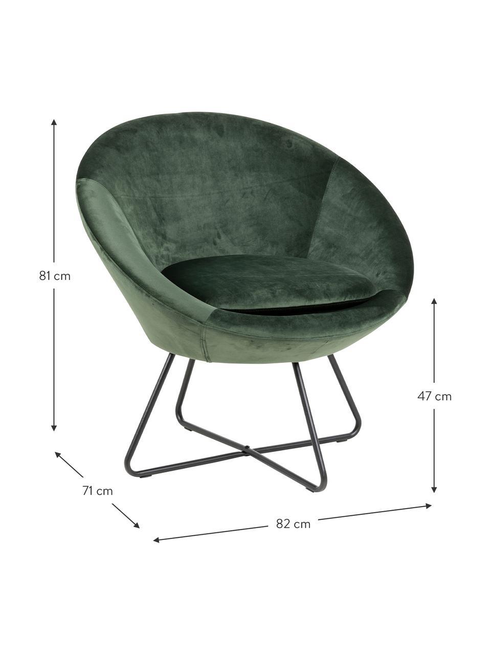 Fluwelen fauteuil Center in groen, Bekleding: polyester fluweel, Frame: gepoedercoat metaal, Fluweel bosgroen, 82 x 71 cm