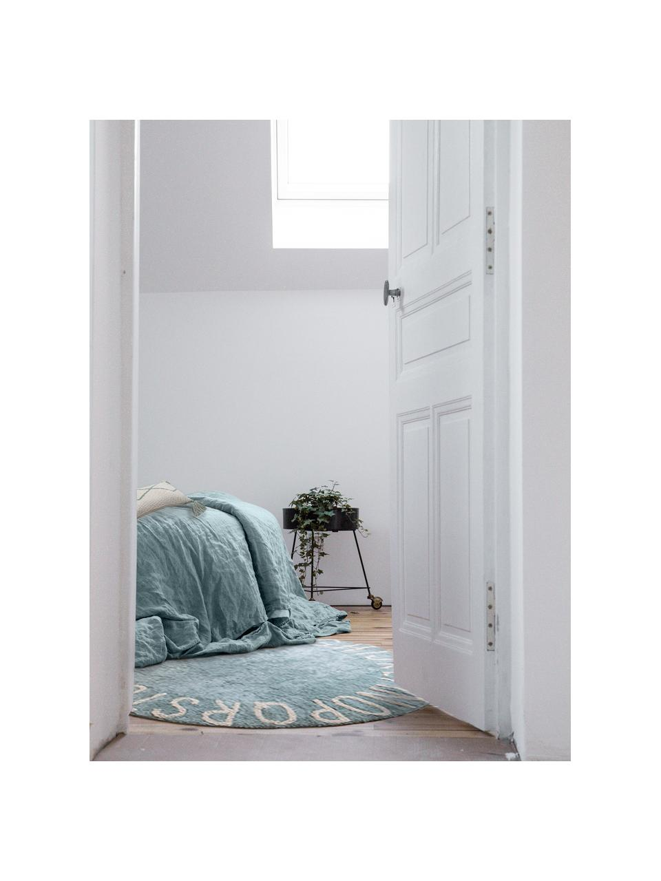 Runder Teppich ABC mit Buchstaben Design, waschbar, Recycelte Baumwolle (80% Baumwolle, 20% andere Fasern), Blau, Beige, Ø 150 cm (Größe M)