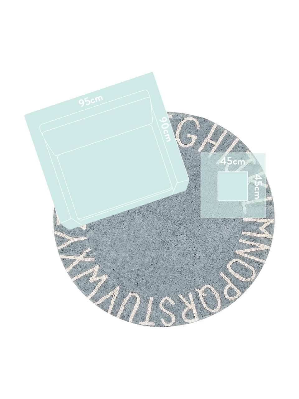 Tappeto rotondo lavabile con motivo a lettere ABC, Cotone riciclato (80% cotone, 20% altre fibre), Blu, beige, Ø 150 cm (taglia M)