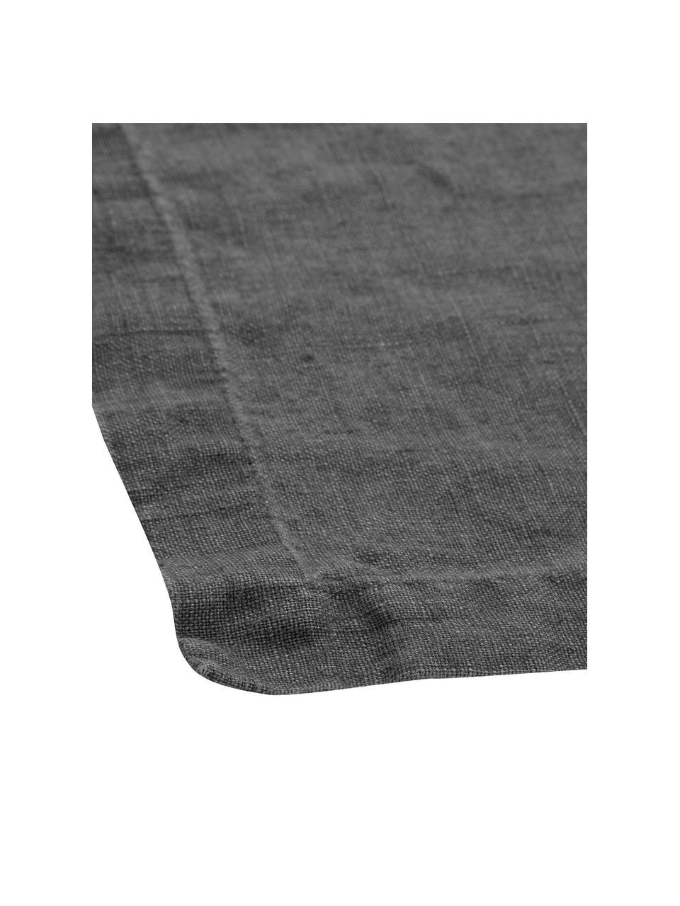 Obrus z lnu Ruta, Szary, Dla 4-6 osób (S 130 x D 170 cm)