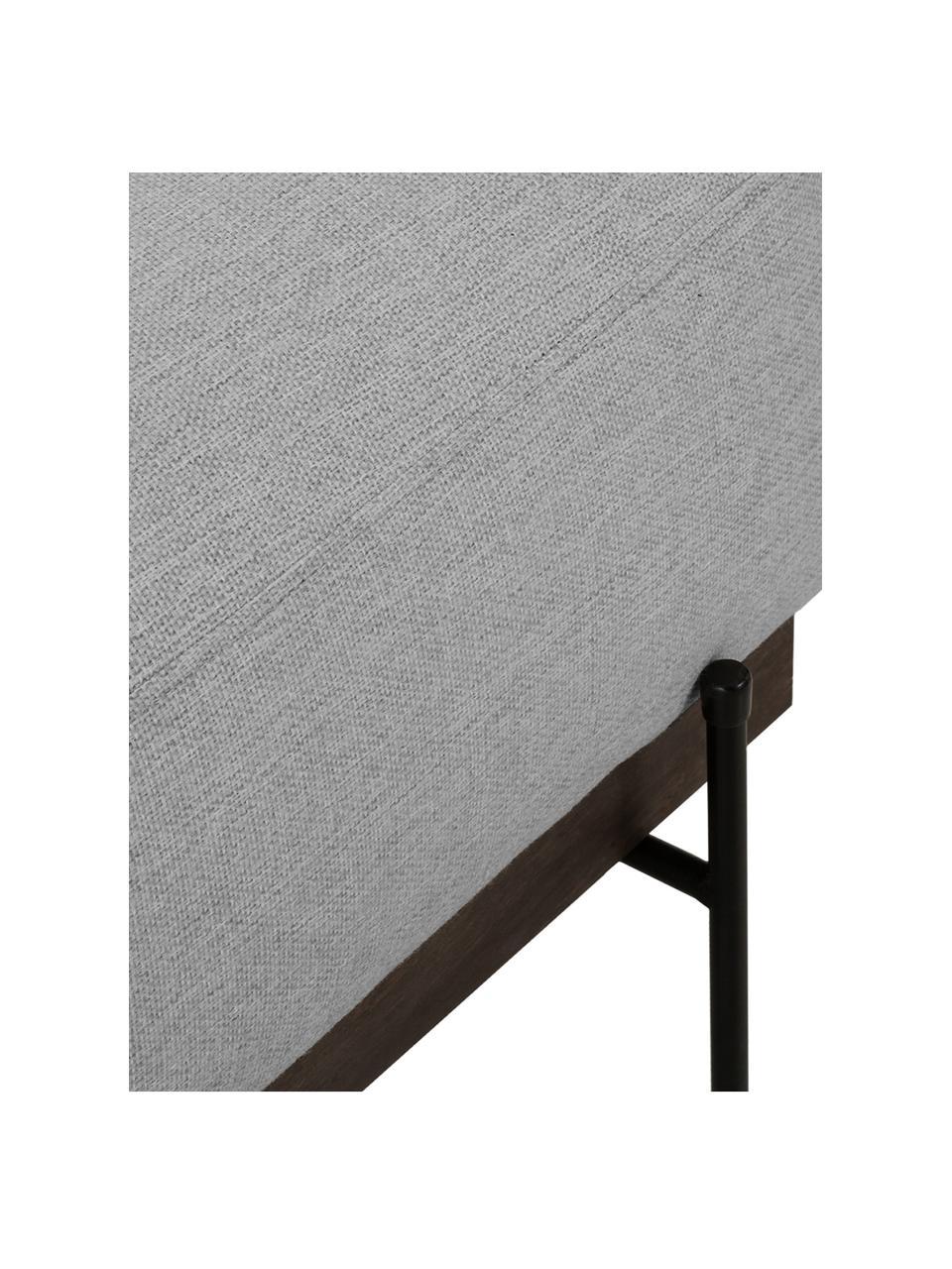 Sofa-Hocker Brooks in Grau mit Metall-Füßen, Bezug: Polyester Der Bezug ist n, Gestell: Kiefernholz, massiv, Rahmen: Kiefernholz, lackiert, Füße: Metall, pulverbeschichtet, Webstoff Grau, 80 x 43 cm