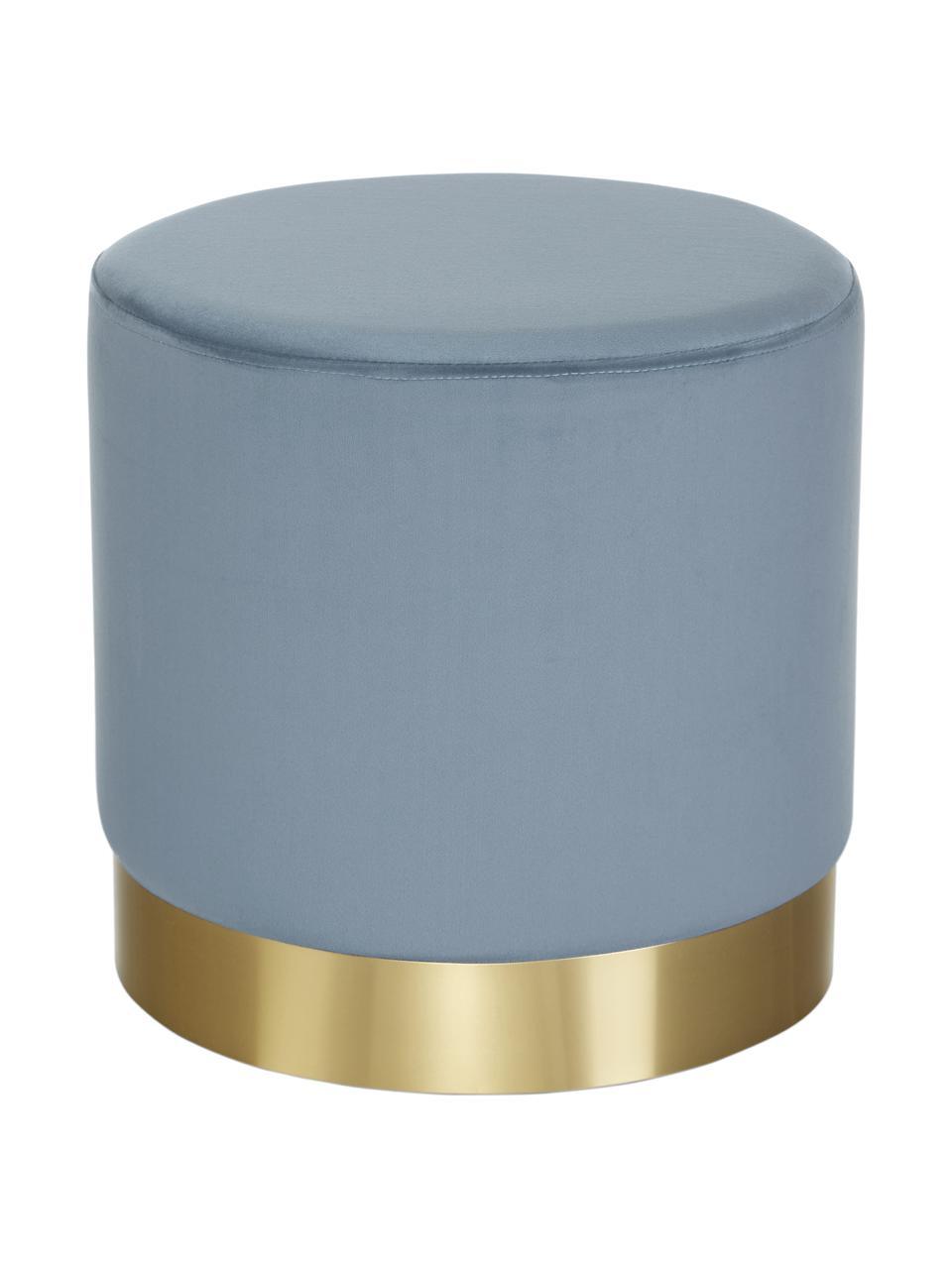 Pouf in velluto azzurro Orchid, Rivestimento: velluto (100% poliestere), Struttura: compensato, Velluto azzurro, dorato, Ø 38 x Alt. 38 cm