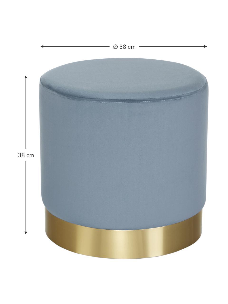 Puf z aksamitu Orchid, Tapicerka: aksamit (100% poliester) , Aksamitny jasny niebieski, odcienie złotego, Ø 38 x W 38 cm