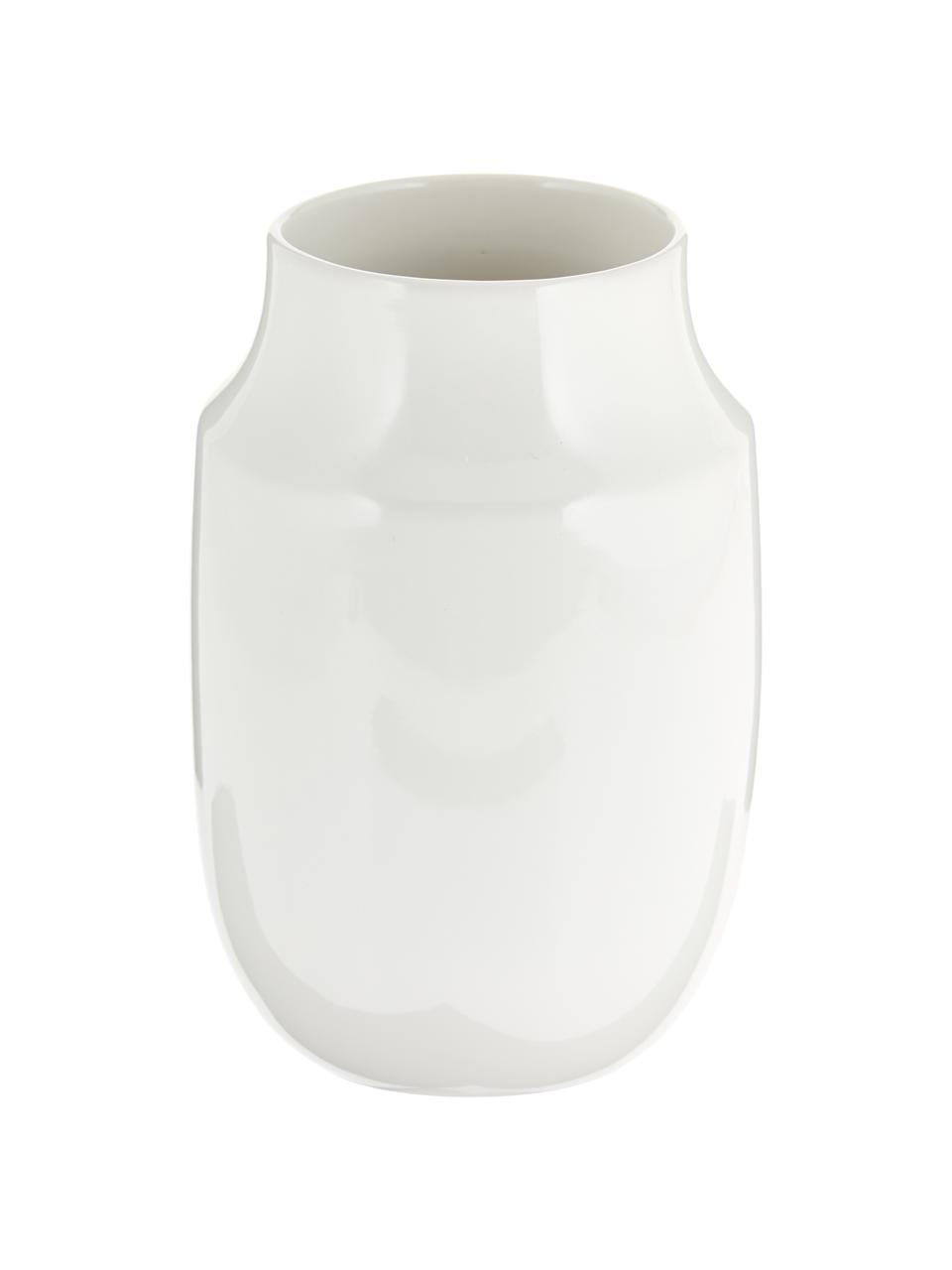 Handgemachte Vase Valeria, Keramik, Weiß, glänzend, Ø 13 x H 20 cm