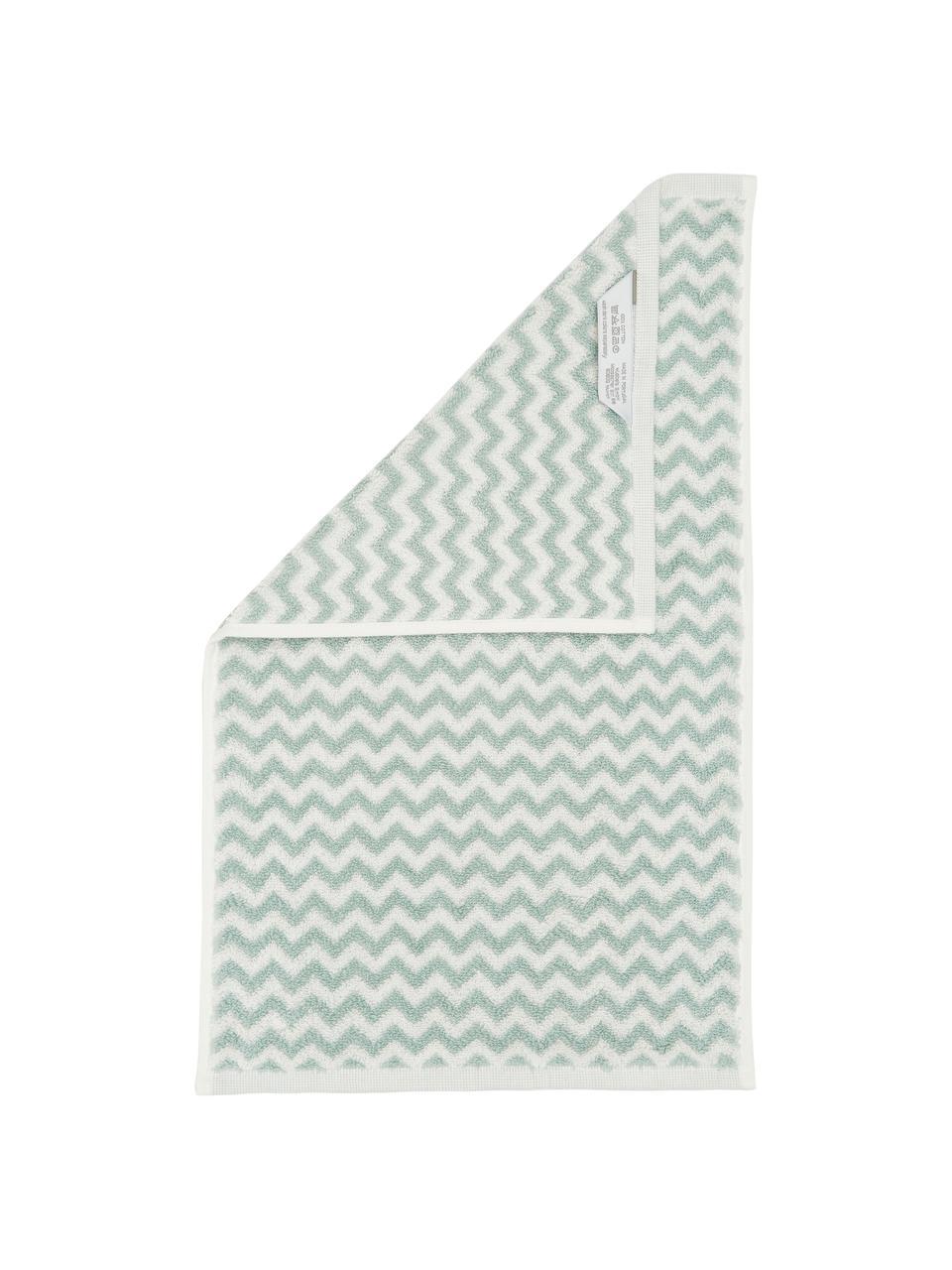 Serviette de toilette coton pur à imprimé zigzag Liv, Vert menthe, blanc crème