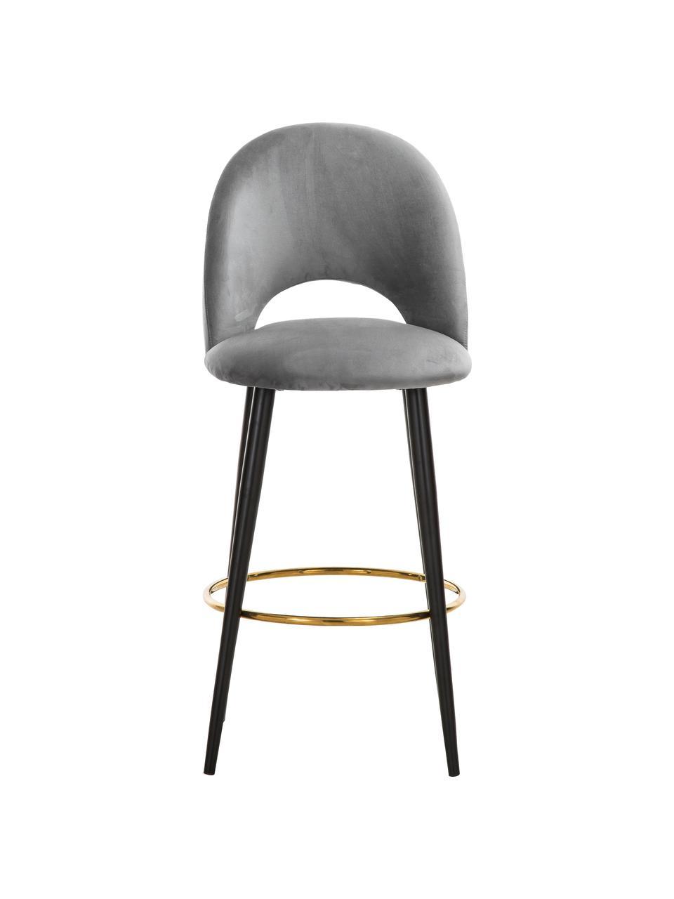 Krzesło barowe z aksamitu Rachel, Tapicerka: aksamit (wysokiej jakości, Nogi: metal malowany proszkowo, Aksamitny szary, S 48 x W 110 cm