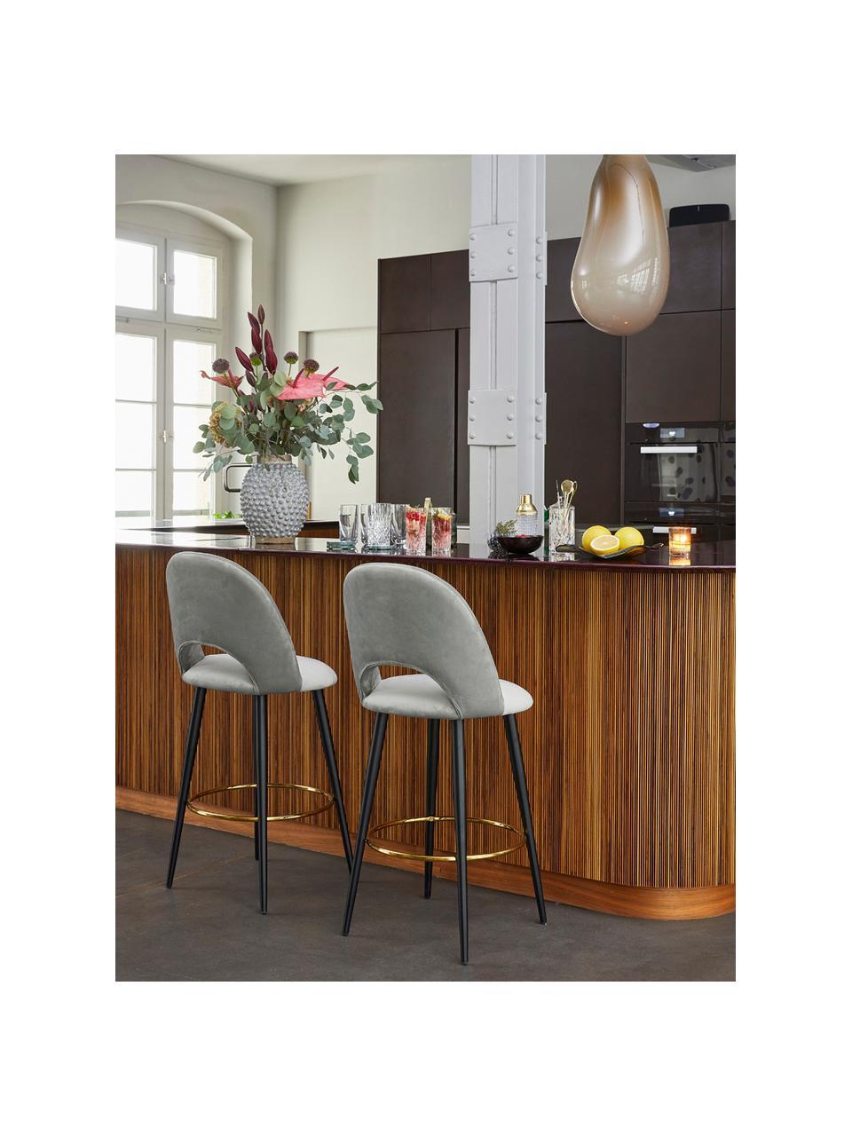 Krzesło barowe z aksamitu Rachel, Tapicerka: aksamit (poliester) 5000, Nogi: metal malowany proszkowo, Aksamitny szary, S 48 x W 110 cm