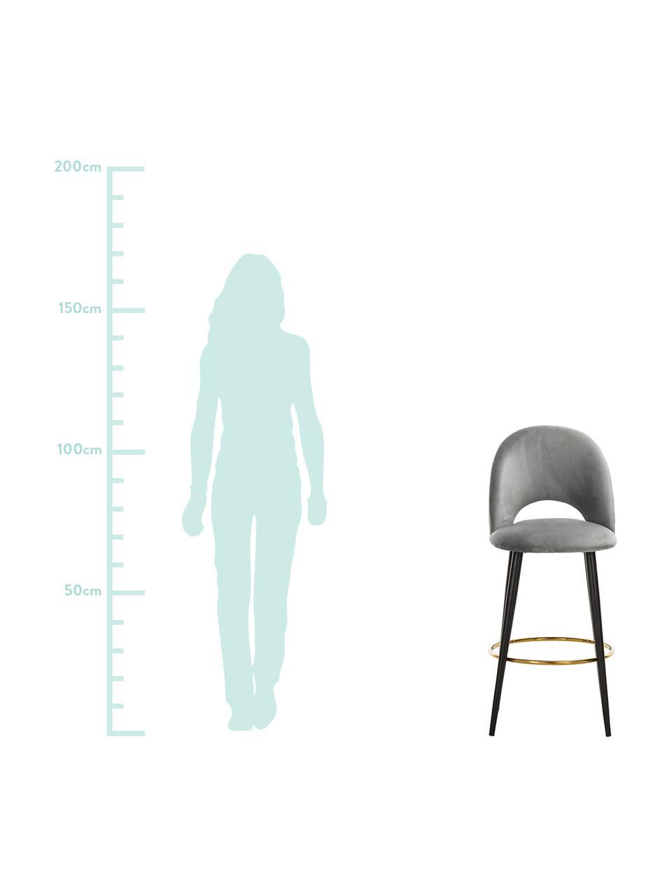 Fluwelen barstoel Rachel, Bekleding: fluweel (polyester), Poten: gepoedercoat metaal, Fluweel grijs, 48 x 110 cm
