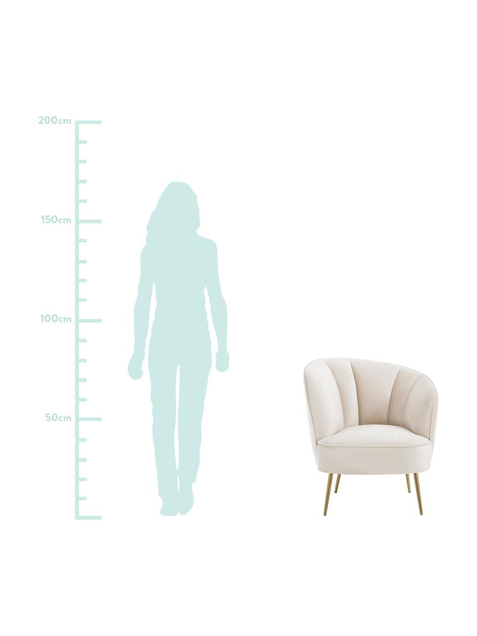Samt-Cocktailsessel Louise in Beige, Bezug: Samt (Polyester) Der hoch, Füße: Metall, beschichtet, Samt Beige, B 76 x T 75 cm