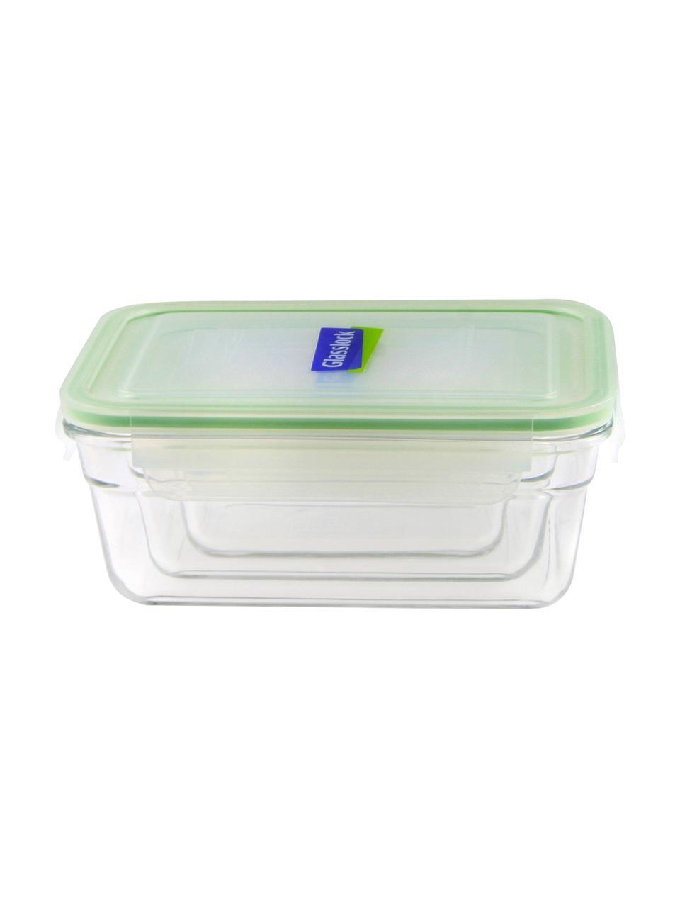 Set 3 contenitori per alimenti Luna, Contenitore: vetro temperato, privo di, Trasparente, verde chiaro, Set in varie misure