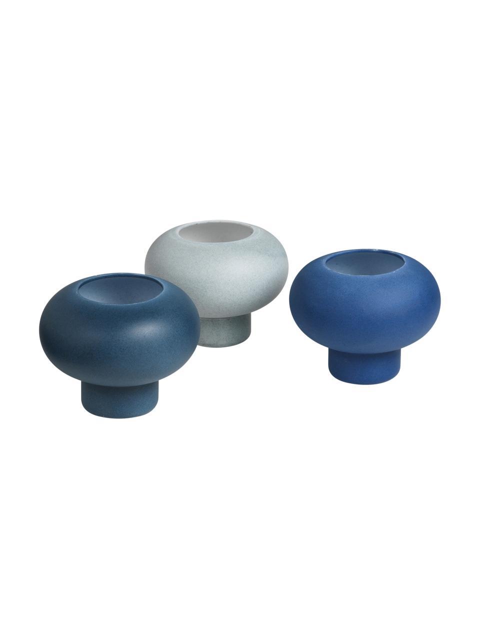 Bougeoir porcelaine Agate, 3élém., Tons bleus
