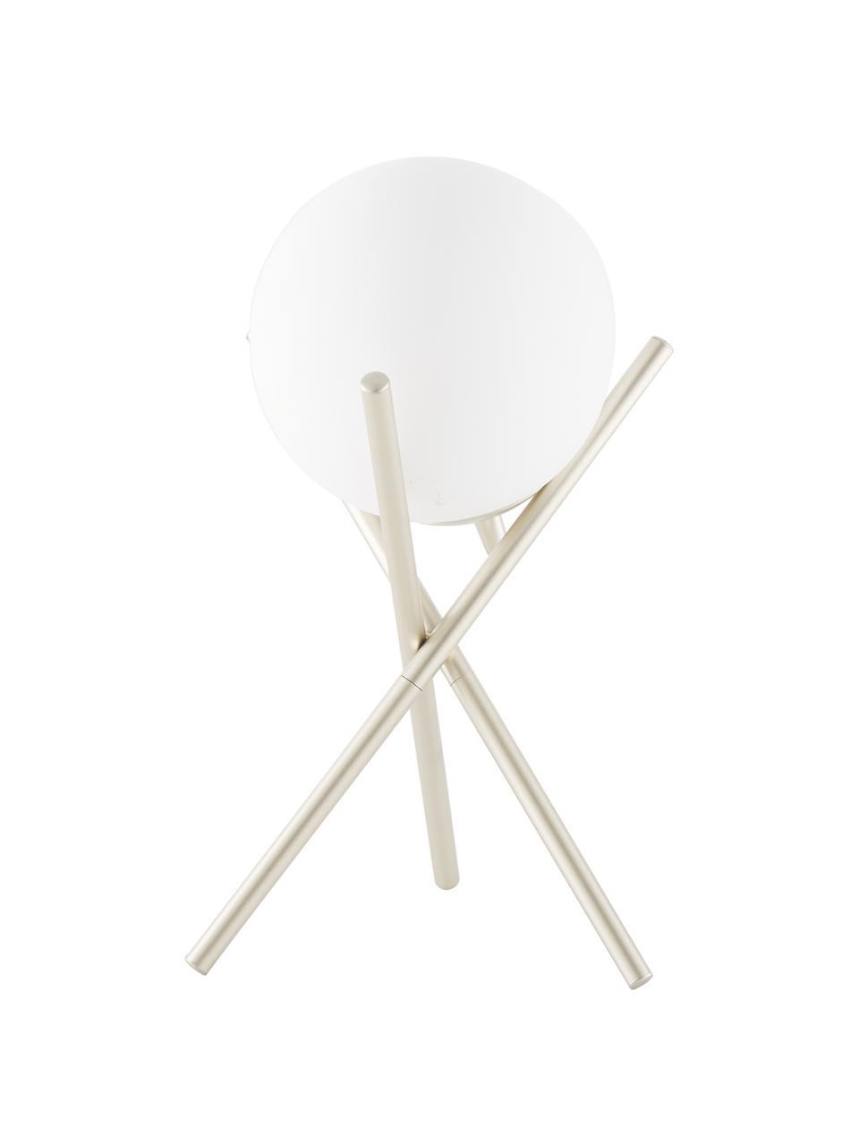 Kleine Tripod Tischlampe Erik mit Glasschirm, Lampenschirm: Glas, Lampenfuß: Metall, lackiert, Weiß, Champagnerfarben, Ø 15 x H 33 cm