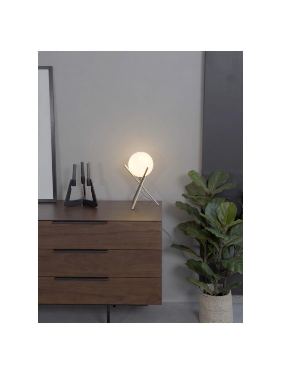 Lampada da tavolo con paralume in vetro Erik, Paralume: vetro, Base della lampada: metallo verniciato, Bianco, champagne, Ø 15 x Alt. 33 cm