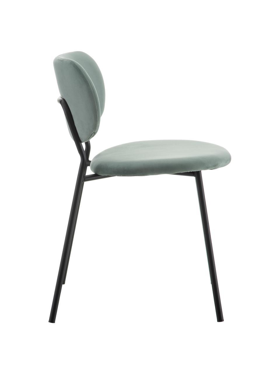 Krzesło tapicerowane z aksamitu Elyse, Tapicerka: 100% aksamit poliestrowy,, Nogi: metal, Miętowy zielony, czarny, S 49 x G 46 cm