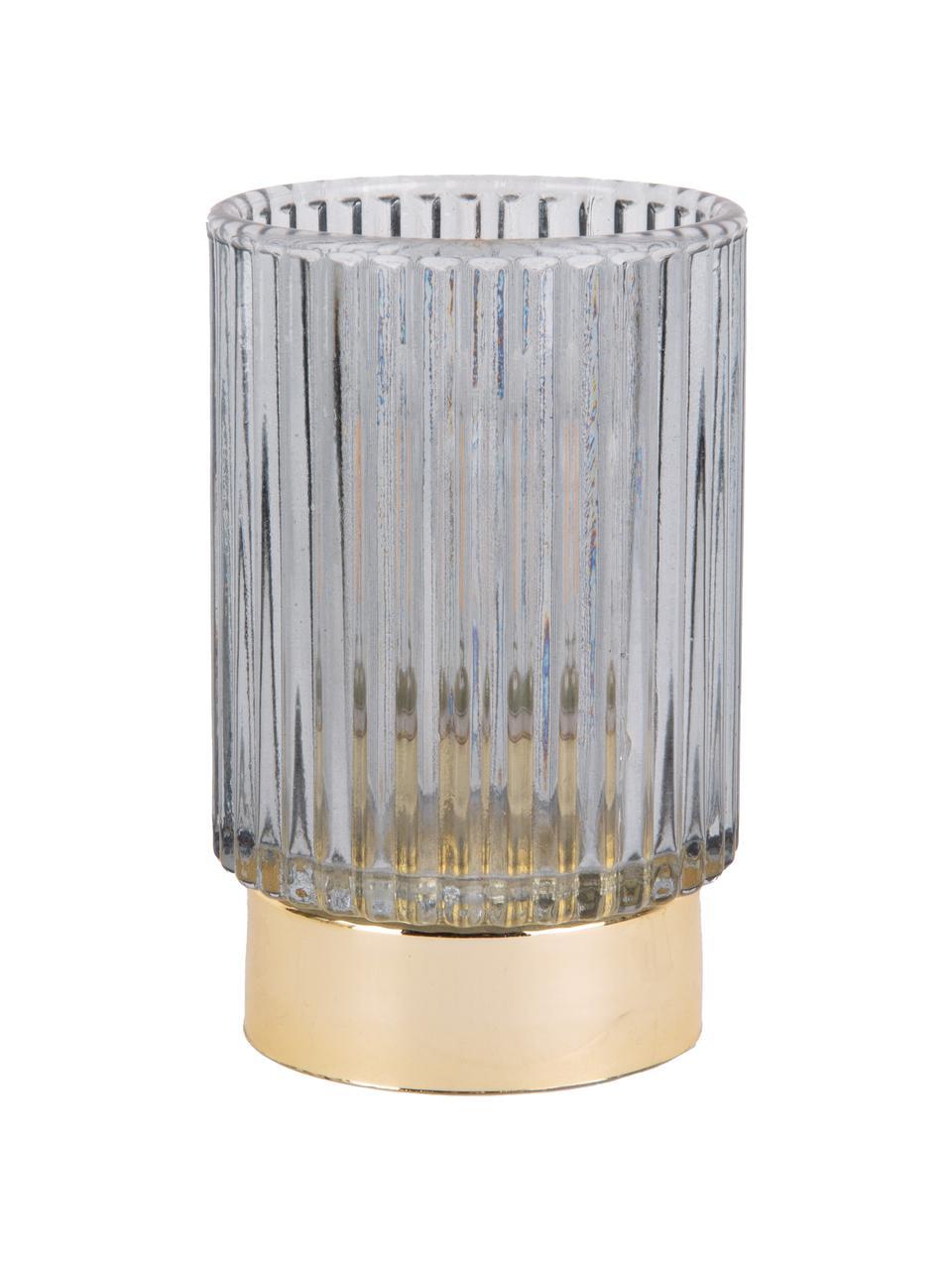 LED Teelichthalter Ribbed, Glas, Blau, Ø 9 x H 13 cm