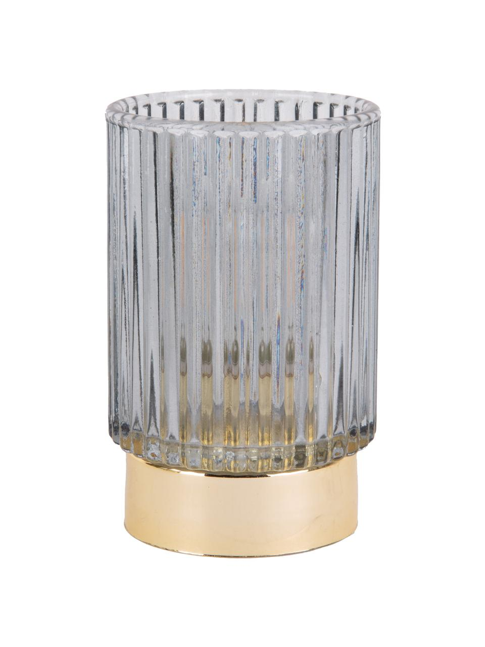 Portacandela a LED Ribbed, Vetro, Blu, Ø 9 x Alt. 13 cm