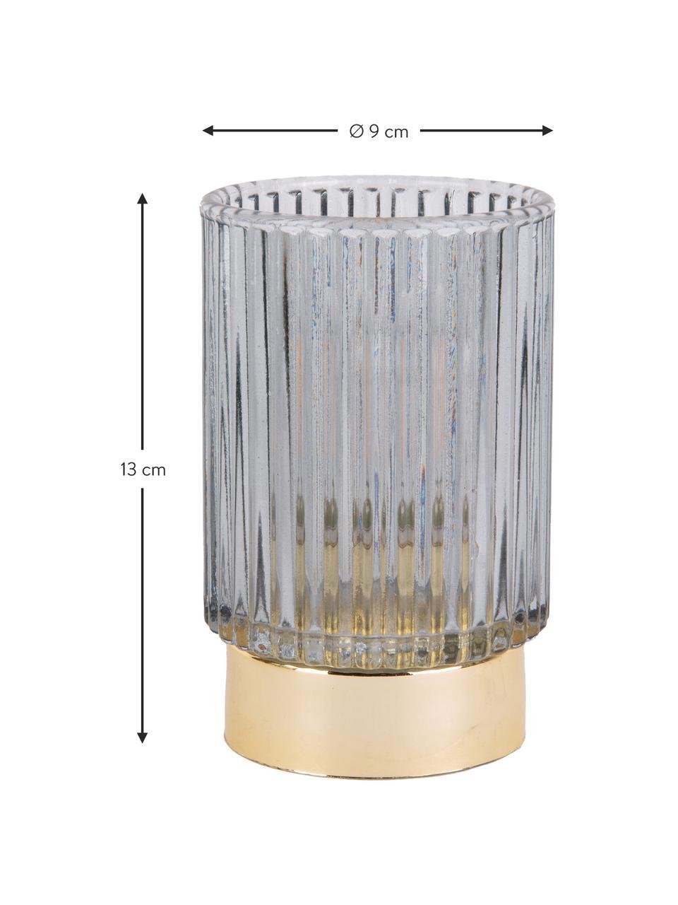 Świecznik LED Ribbed, Szkło, Niebieski, Ø 9 x W 13 cm