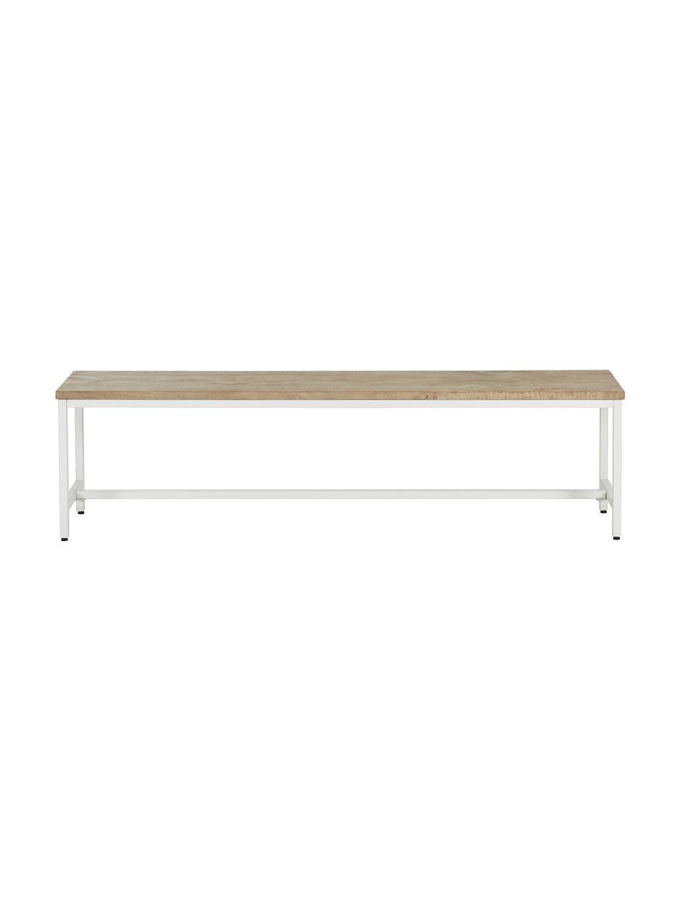 Ławka z litego drewna mangowego Raw, Stelaż: metal malowany proszkowo, Siedzisko: drewno mangowe ze żłobieniami Stelaż: biały, matowy, S 170 x D 47 cm