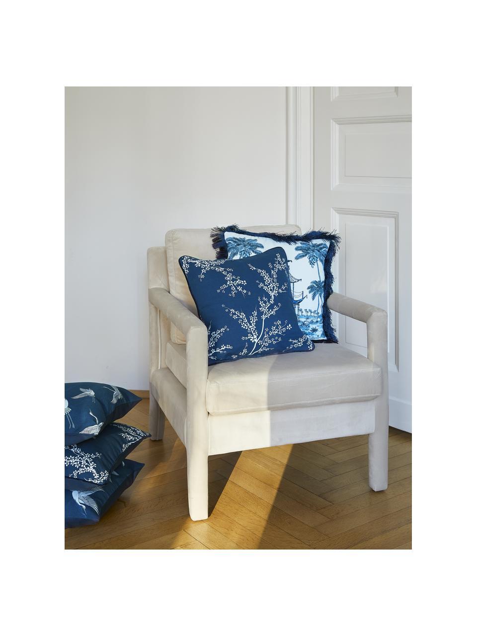Federa arredo in cotone con motivo floreale Jada, 100% cotone, Blu, Larg. 40 x Lung. 40 cm