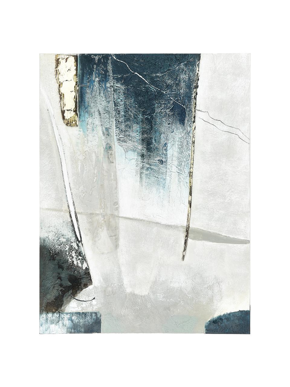 Quadro dipinto a mano Golden Blue I, Immagine: colori ad olio su tela (3, Barella: legno di abete, Multicolore, Larg. 90 x Alt. 118 cm
