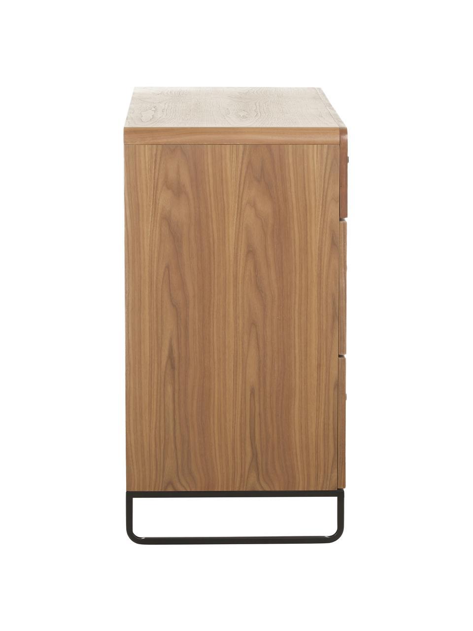 Cassettiera in legno Sally, Struttura: metallo verniciato a polv, Legno chiaro, nero, Larg. 100 x Lung. 80 cm