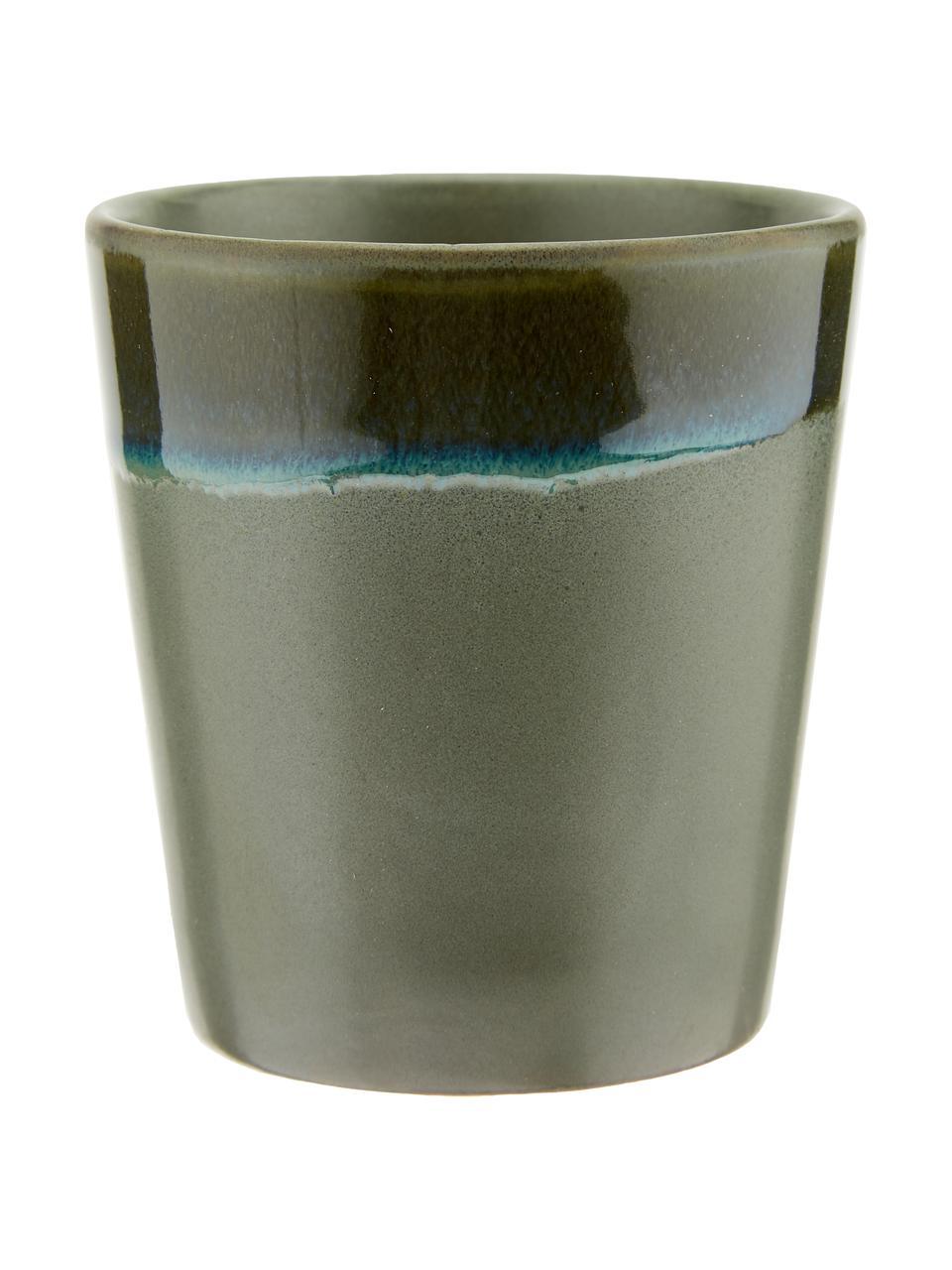 Handgemachte XS Becher 70's im Retro Style, 6er-Set, Steingut, Rosa, Beige, Blau, Ø 8 x H 8 cm