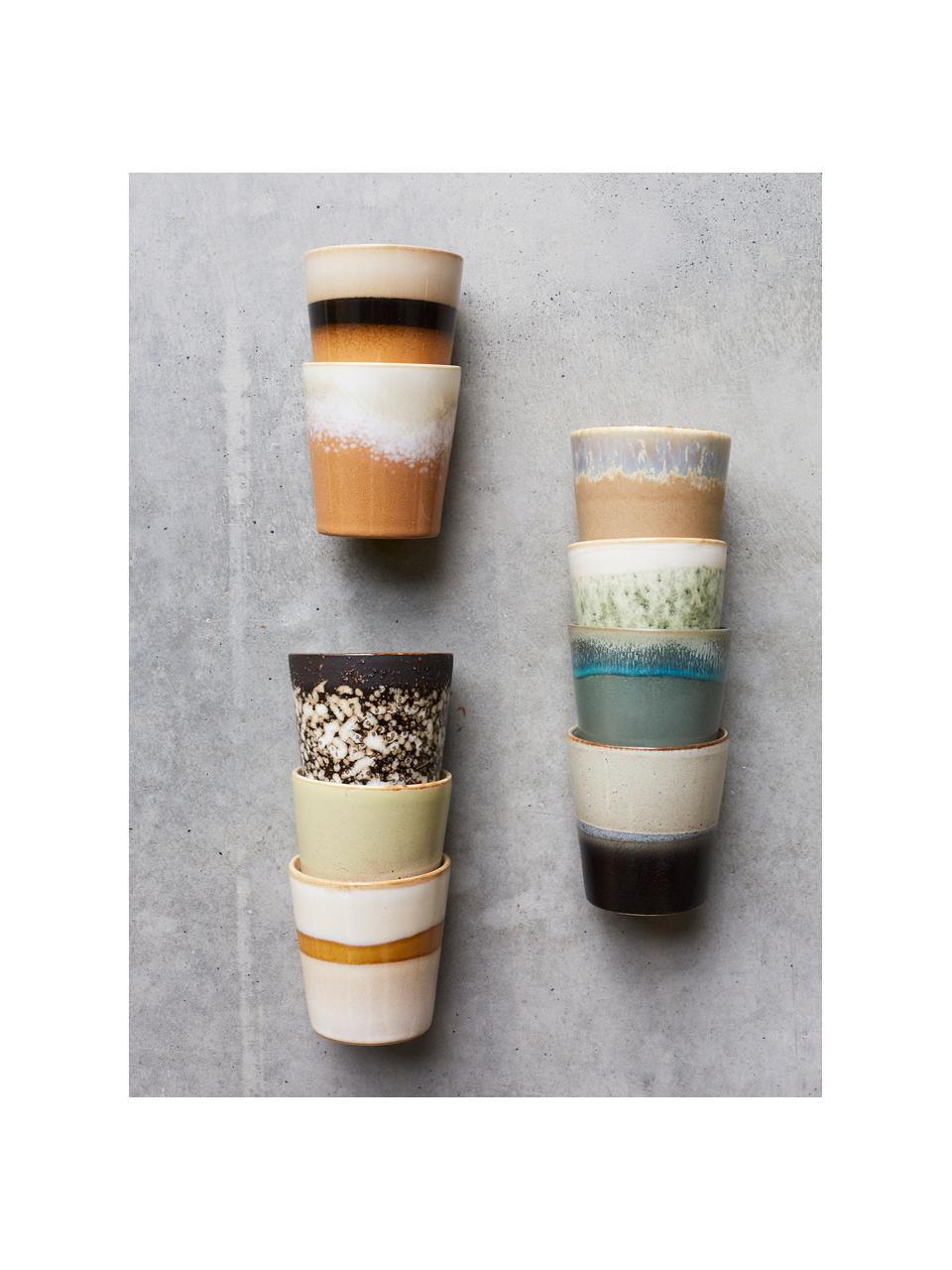 Set 6 tazze stile retrò senza manico fatte a mano 70's, Gres, Rosa, beige, blu, Ø 8 x Alt. 8 cm