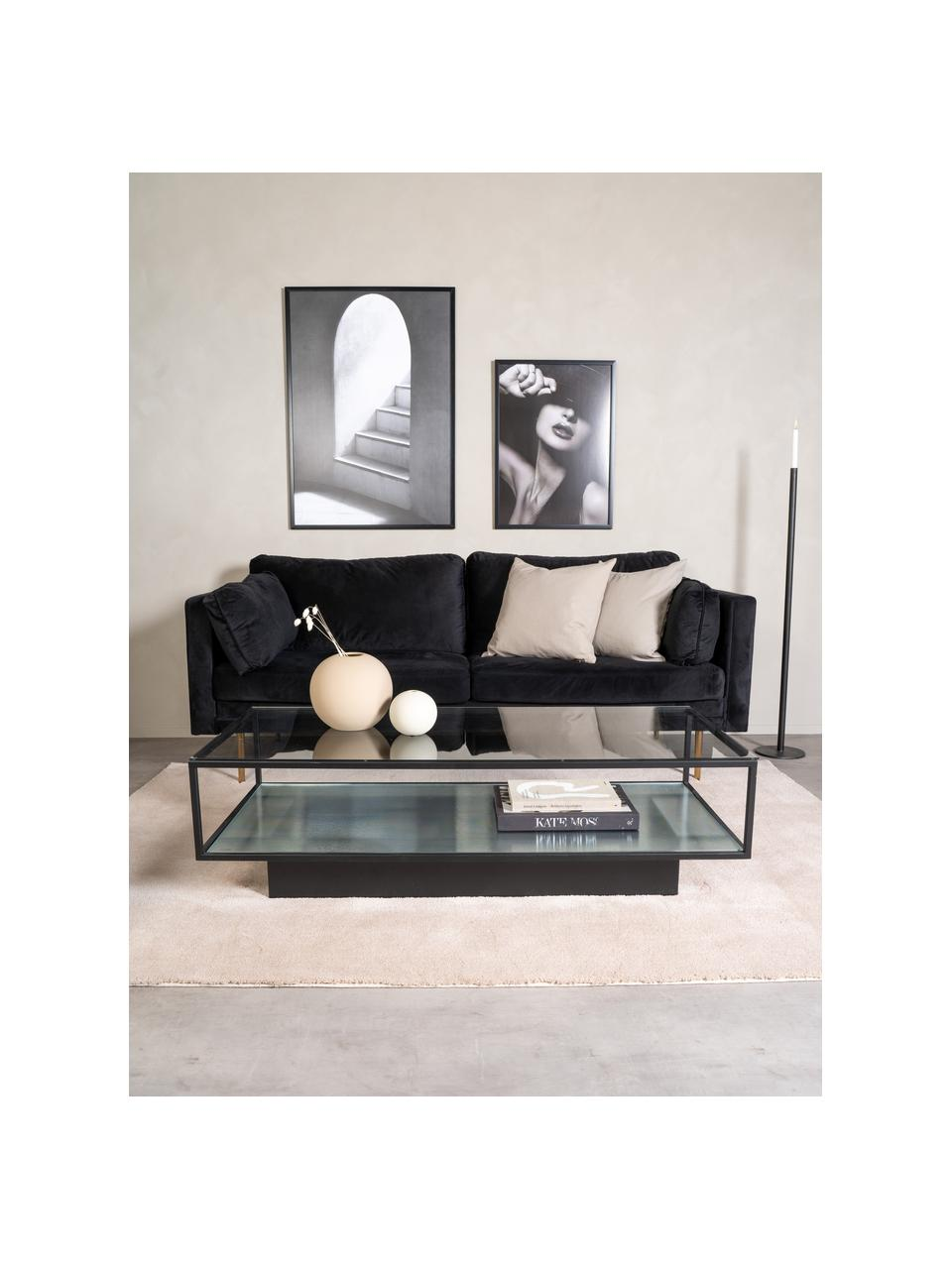 Metalen salontafel Maglehem met glazen tafelblad, Frame: gecoat metaal, Zwart, transparant, 130 x 60 cm