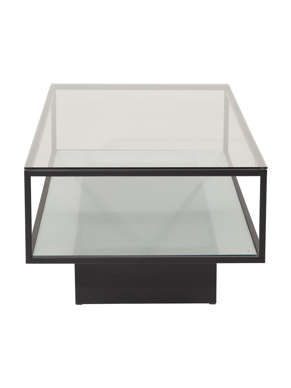 Metall-Couchtisch Maglehem mit Glasplatte, Gestell: Metall, beschichtet, Schwarz, Transparent, B 130 x T 60 cm