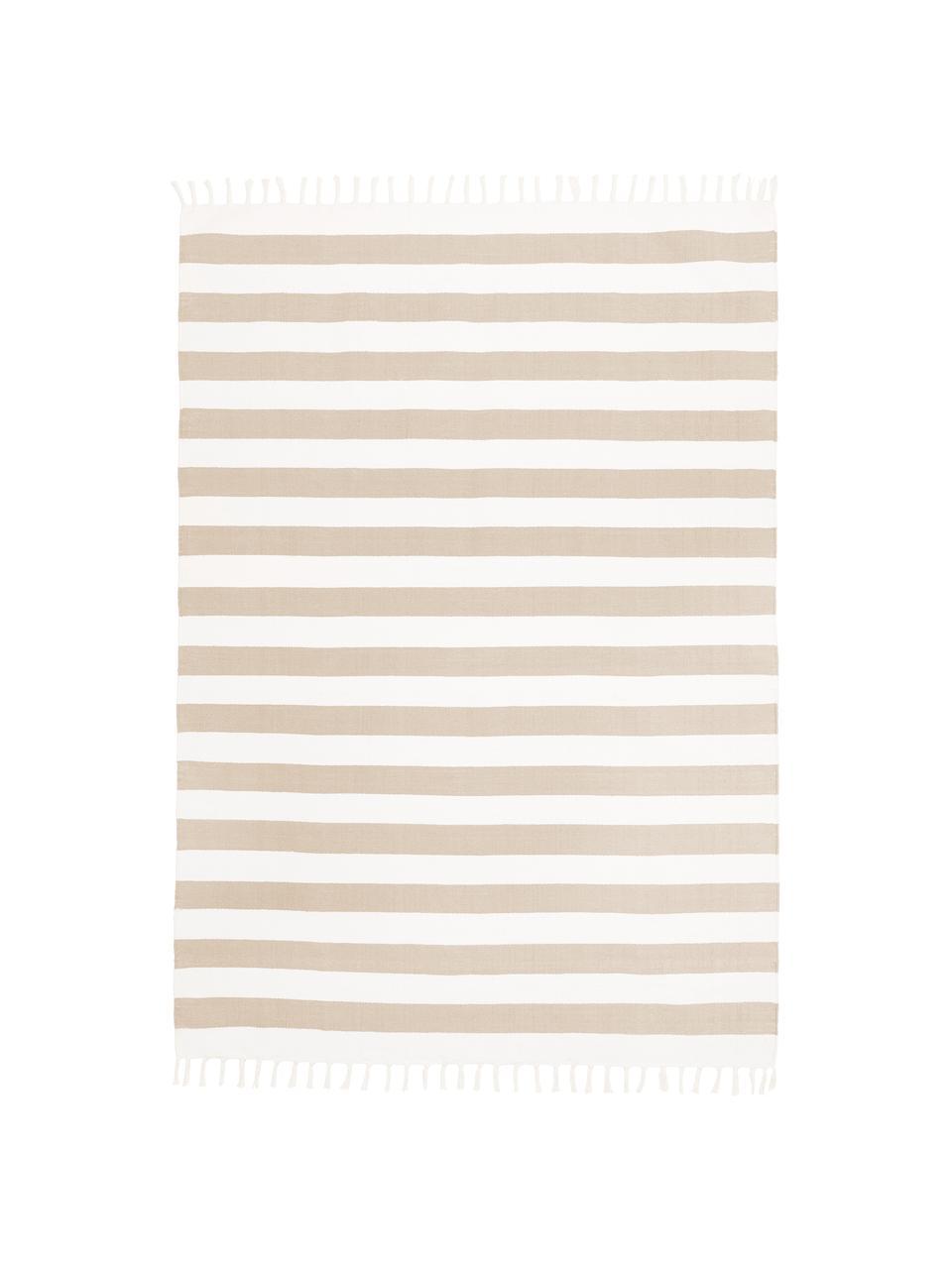 Gestreifter Baumwollteppich Blocker in Beige/Weiß, handgewebt, 100% Baumwolle, Cremeweiß/Beige, B 200 x L 300 cm (Größe L)