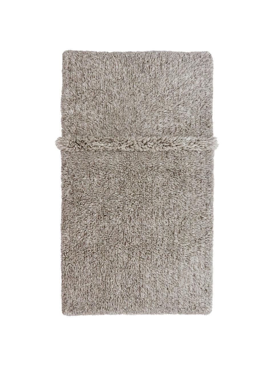 Tapis en laine gris fait main Tundra, lavable, Gris